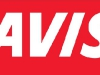 AVIS white on red block
