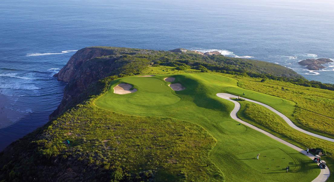 Oubaai Golf Course 17th tee View Ocean Greens