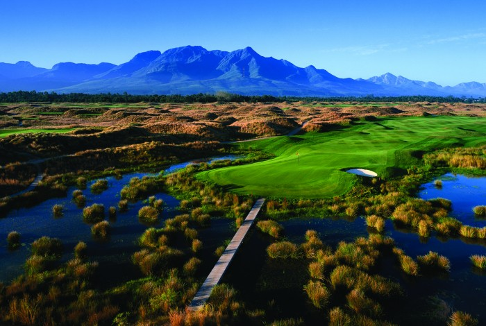 Fancourt the Links Golf Course Aerial View of Greens and Waterways
