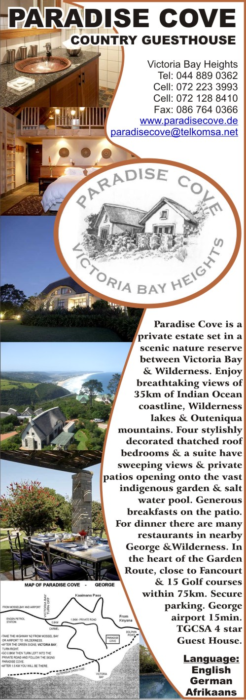 Paradise Cove Country Guest House - Golf in the Garden Route & SA