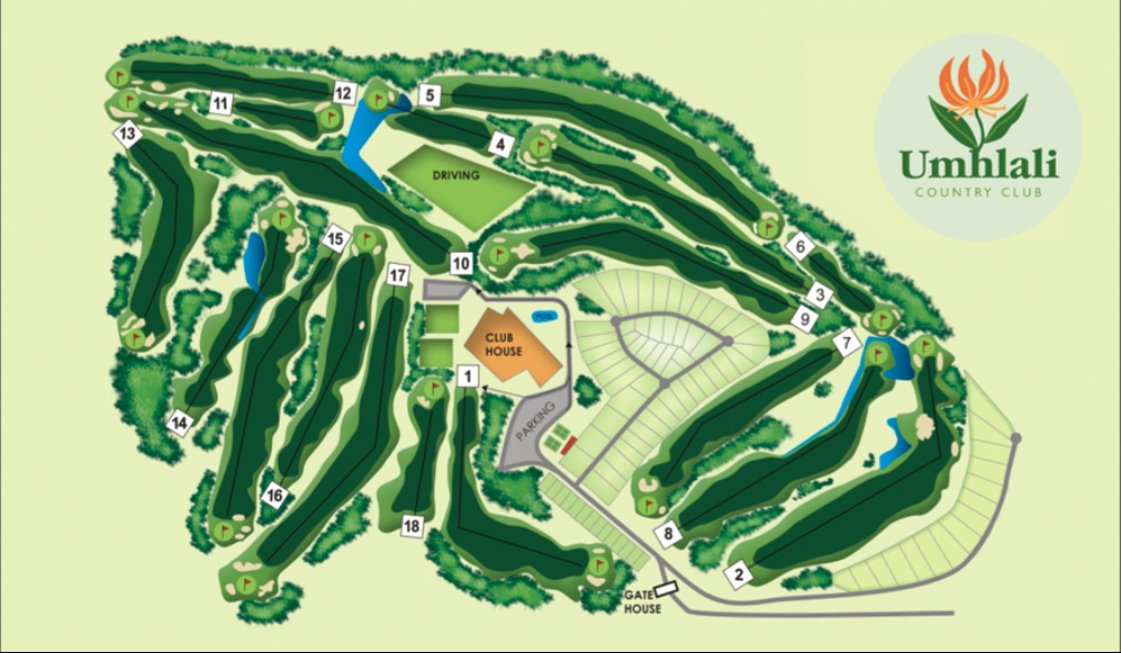 Umhlali country club course layout - golfinthegardenroute.com